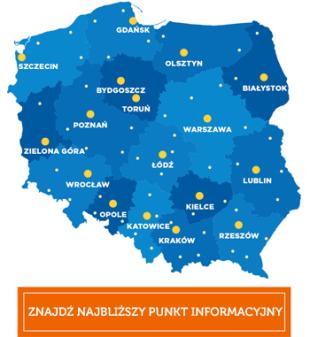 Znajdź najbliższy punkt informacyjny o Funduszach Europejskich. Grafika to mapa Polski z zaznaczonymi stolicami województw.