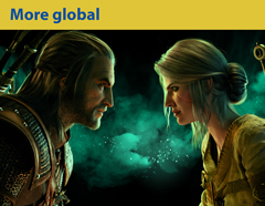 More global. The Witcher characters: Geralt of Rivia and Ciri. CD Projekt SA
