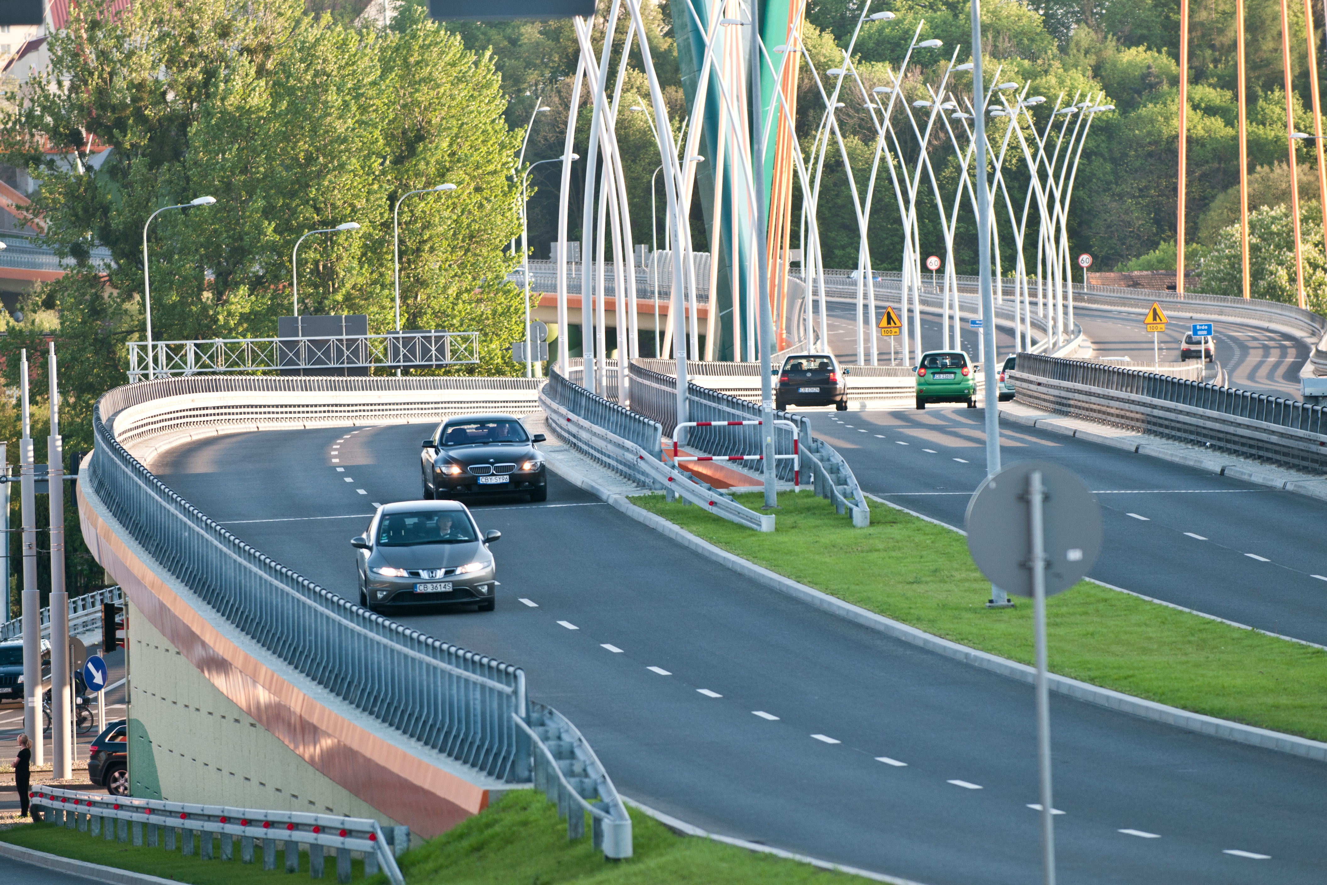 "The photo presents the rebuilt ""University Route"" in Toruń."