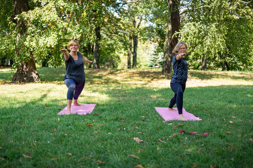 Dwie kobiety ćwiczą jogę w parku
