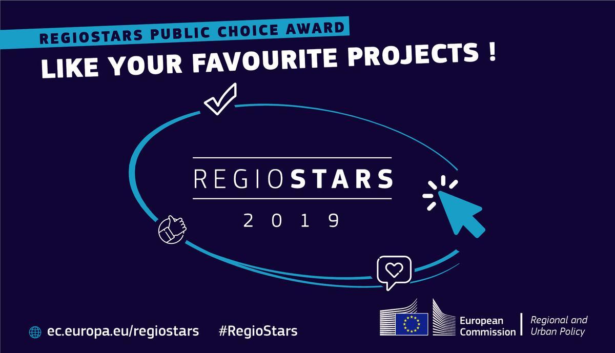 plakat informujący o konkursie Regiostars (na granatowym tle białe napisy)